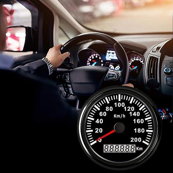 Fancyu Digitaler Rostfreier Gps Tachometer 85mm Universal Kfz Instrumententafel Auto Gps Digital Kilometerzähler 200km H Für Auto Lkw Motor Marine Boot Auto