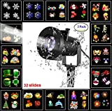 ANTTAA Led Christmas Light Projector with 16 Slides Dynamic Waterproof Lighting Led Projector Spotlight Night Light for Christmas Halloween Birthday Party Wedding Holiday Decoration (Pack of 2)