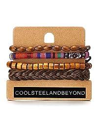 Mix 4 Men Womens Brown Wrap Bracelets, Wood Beads Ethnic Tribal Bracelets, Leather Cotton Wristbands