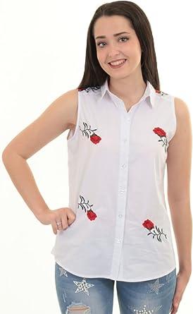 Zafiro Boutique Rosa para Mujer sin Manga Floral con Botones Rosa Floral Bordado Top Camisa Blusa - Liso Floral, M (UK 10-12): Amazon.es: Ropa y accesorios