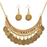 2Pcs/Set Ethnic Retro Boho Carved Coin Necklace & Earrings,Vintage Gypsy Indian Jewelry Set for Women