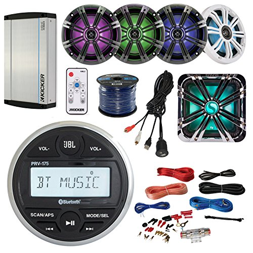 JBL PRV-175 Marine Boat Bluetooth Guage Receiver Bundle With 4 Kicker 6.5'' LED Speaker W/ Remote + 12'' Subwoofer W/ Grill + 8-Channel Amplifier W/ Install Kit + Enrock AUX to RCA Cable + 50Ft Wire by Enrock JBL Kicker Pyle (Image #1)