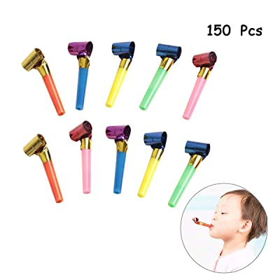 SBYURE 150 Pcs Musical Blow Outs, Party Horns Noisemakers Blowouts Whistles for Birthday Party Favors, New Years Party Noisemakers,Party Blowouts Whistles,Fun Party Favors, Assorted Colors: Toys & Games