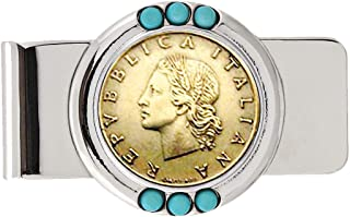 product image for Coin Money Clip - Italian 20 Lira | Brass Moneyclip Layered in Silver-Tone Rhodium with Genuine Turquoise Stones | Holds Currency, Credit Cards, Cash | Genuine Coin | Certificate of Authenticity