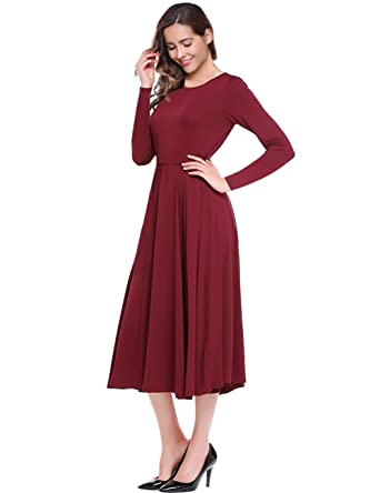 38e6fb855c Leadingstar A-line Swing Dress Long Sleeve Fit and Flare Midi Dress Burgundy  S