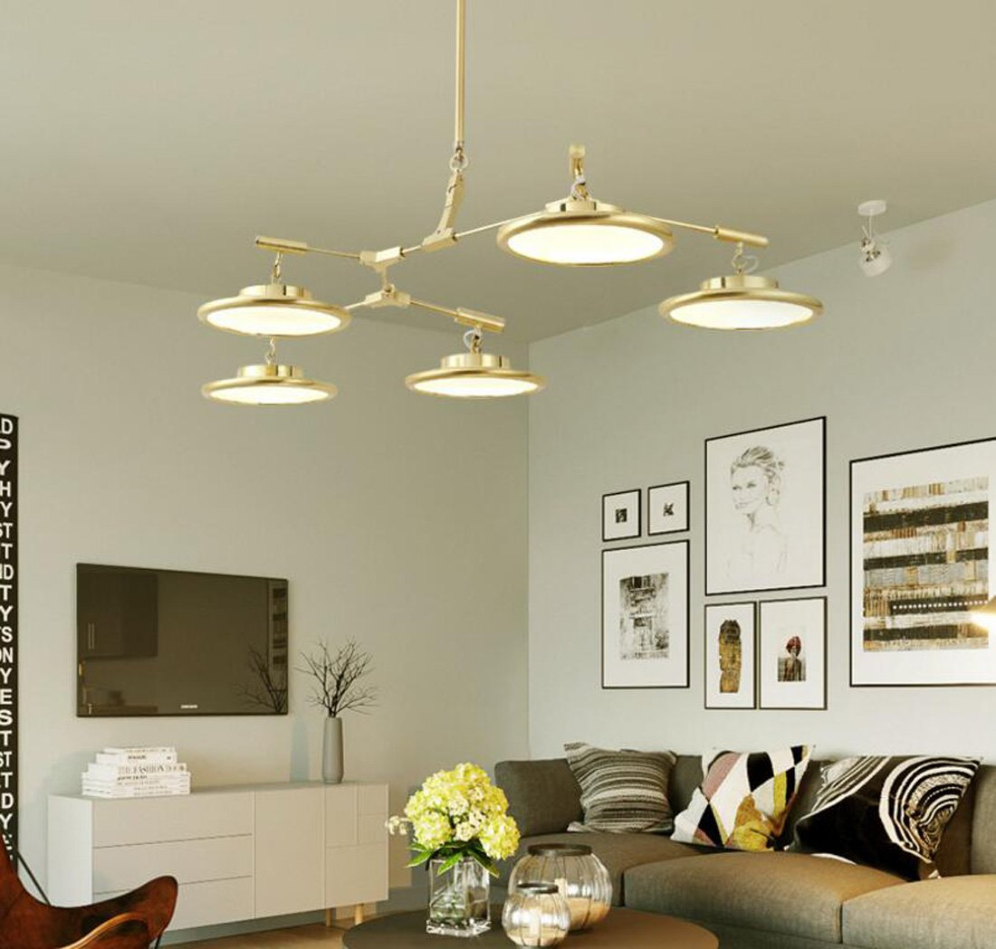 Warm light 3 heads Nordic Postmodern Chandelier Tree Branch Molecular UFO Pendant Lamp Living Room dining Room bedroom Upscale golden LED Ceiling Light