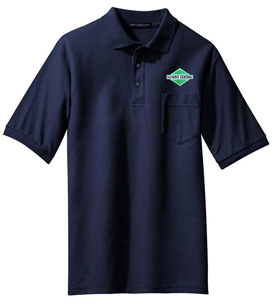 06 Illinois Central Green Diamond Logo Embroidered Polo