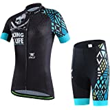 Ateid Women's Cycling Jersey Set Short Sleeve with 3D Padded Shorts