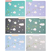 Decorative File Folders - 12-Count Colored File Folders Letter Size, 1/3-Cut Tabs, Includes 6 Cute Japanese Cherry…