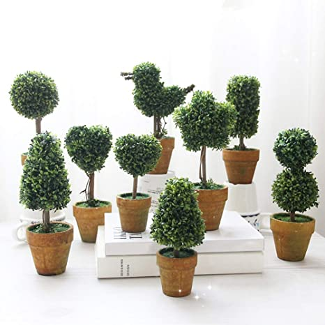 plastica e ceramica. per giardino F Homeofying Bonsai artificiale rotondo Verde festa di nozze a forma di cuore decorazione a stella con vaso in ceramica