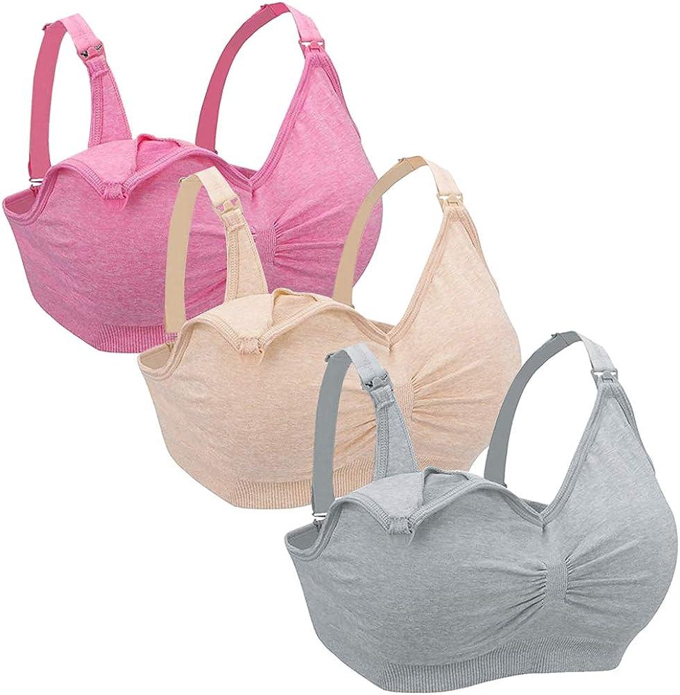 Xinvivion 3 Pack Mujeres Sujetador de Lactancia Sin Costura Sujetador de Maternidad Amamantamiento Dormir Bralette con Retirable Acolchado