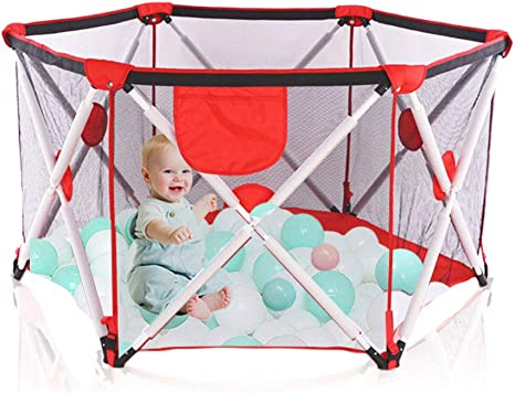 gioco interno ed esterno per 0-4 anni BLUE box pieghevole e portatile per bambini box pieghevole esagonale con rete traspirante Box per bambini