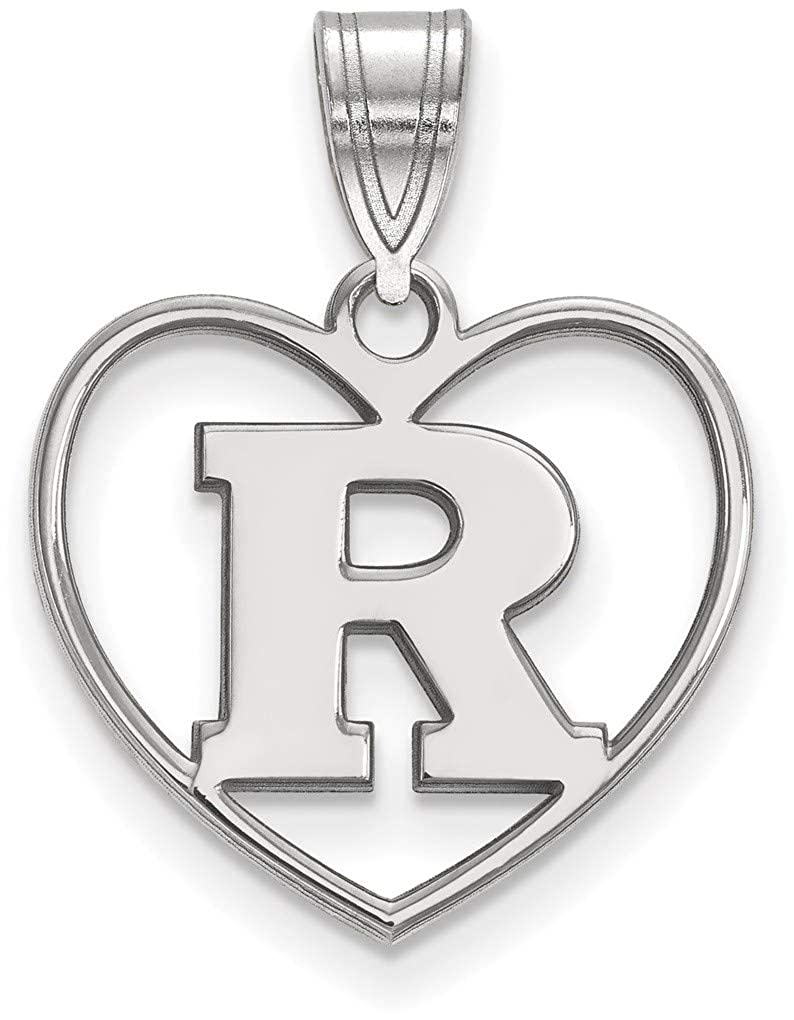 Sterling Silver Rutgers Pendant in Heart by LogoArt