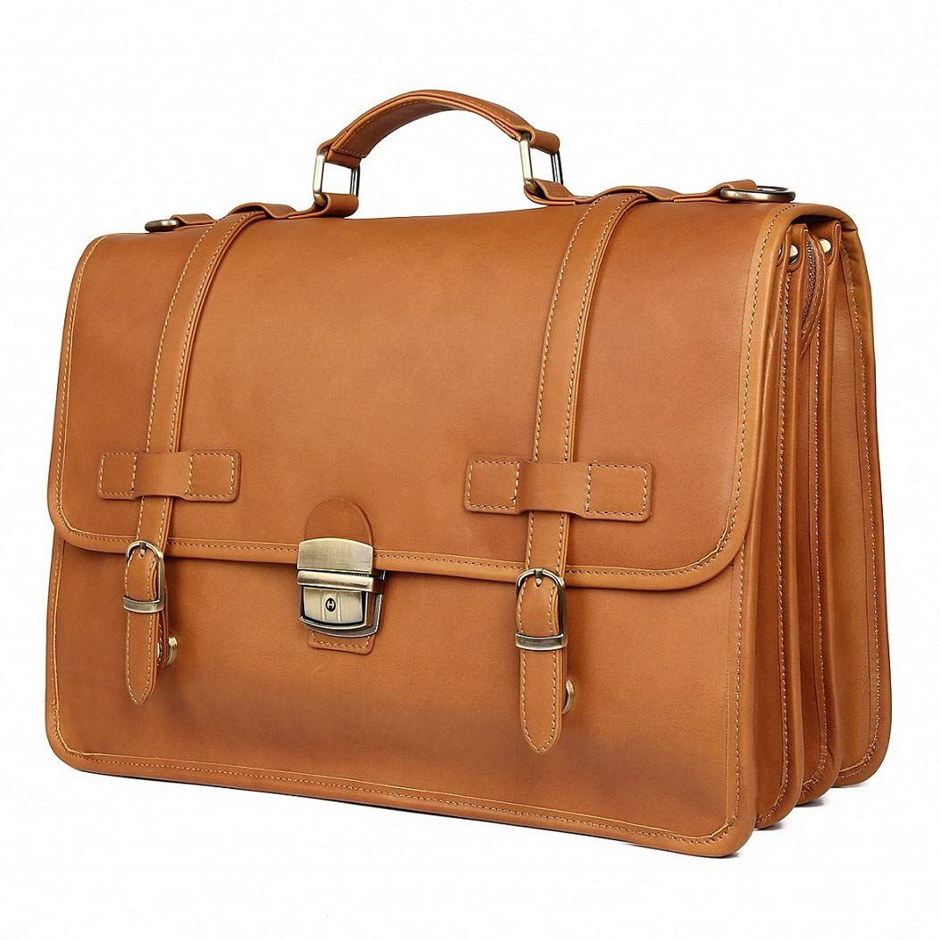 Leather Briefcases Messenger for Men Waterproof Business Travel Duffle Bag 14 inch Laptop Bags
