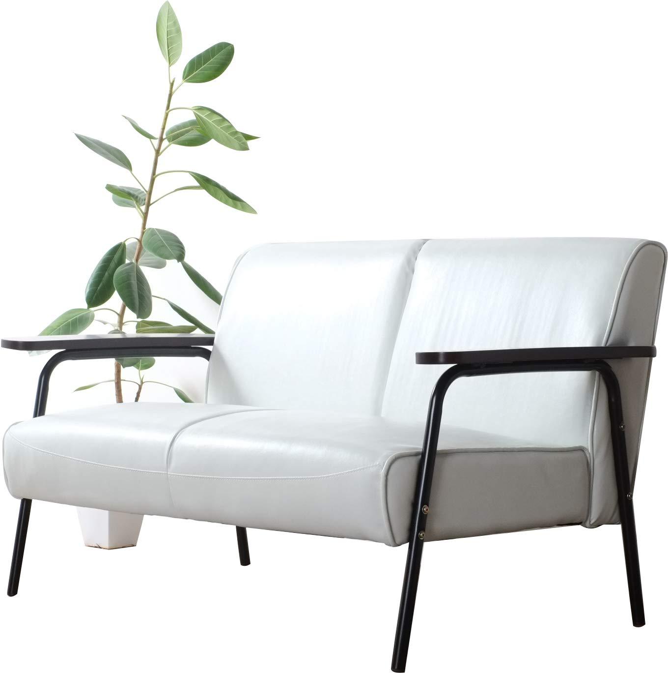 家具の赤や 2Pソファ 2人掛け 木肘 ソファー JIG 幅136cm (ホワイト) B07DVX1D6Y ホワイト