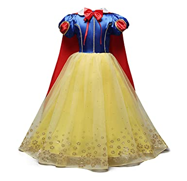 Biancaneve Abito Costume Carnevale Bambina Simil Snow White Girl Dress SNOW004
