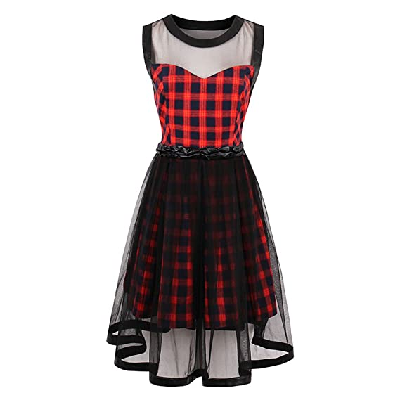 jinjiachenglt New Summer Female Party Dress Goth Red Sexy Plaid Dresses Hollow Out A Line Dress Summer at Amazon Womens Clothing store: