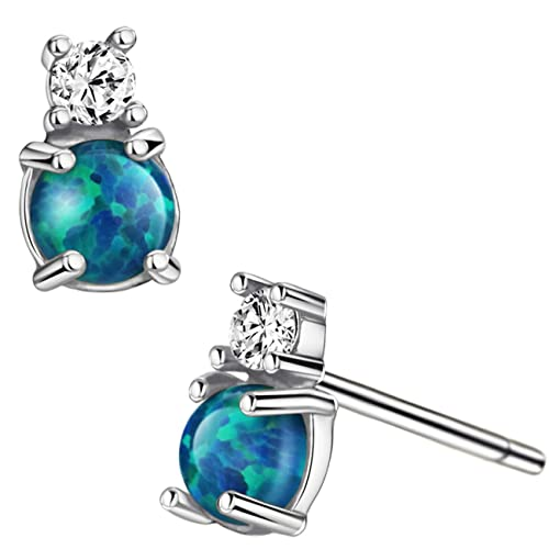 12a4999f1 Opal Stud Earrings Sterling Silver Tiny Blue Opal Earring with CZ Accents Jewelry  for Women Girls