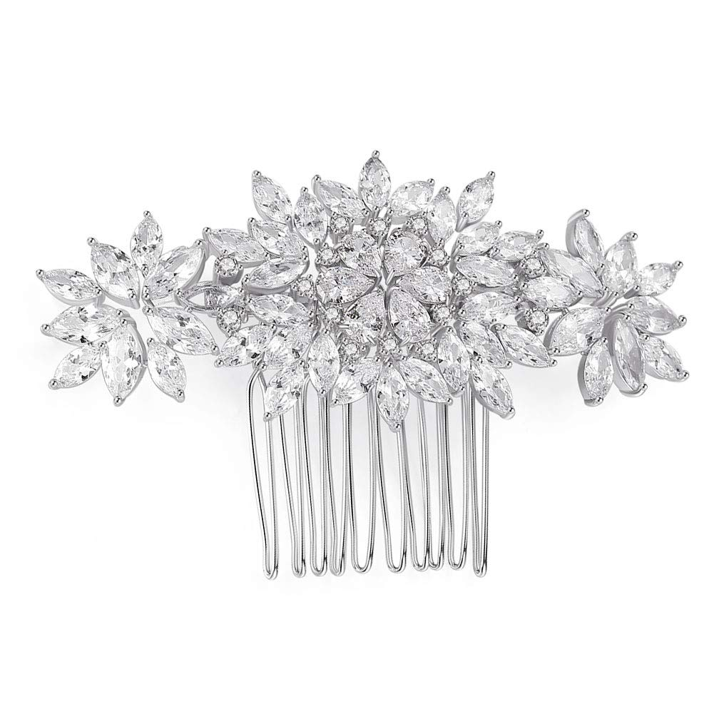 Bridal Hair Comb Clip Wedding Hair Accessories for Brides Bridesmaids Flower Leaf Clear Crystal Cubic Zirconia CZ hair combs for women Decorative Siliver by CZCITY