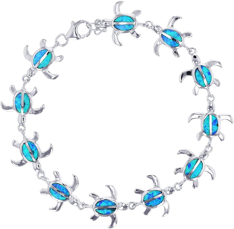 Little Bear Blue Fire Opal Sterling silver small pendant necklace