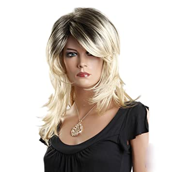 Amazon Com Bouffantlong Gold Curly Big Waves Side Swept Fringe