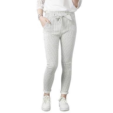 0b692ed59cf49 Dihope Femme Pantalon Longue Jambe Large Elastique Taille Haute Couleur Uni  Trousers Pantalon Casuel Lâche Pants