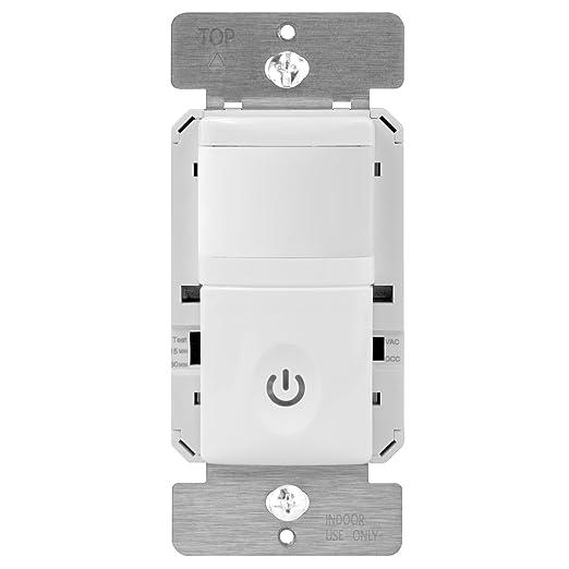 Enerlites, HMOS. Interruptor de luz, con modos de ocupación / vacancia, con sensor activado por movimiento, luz nocturna con led inteligente.