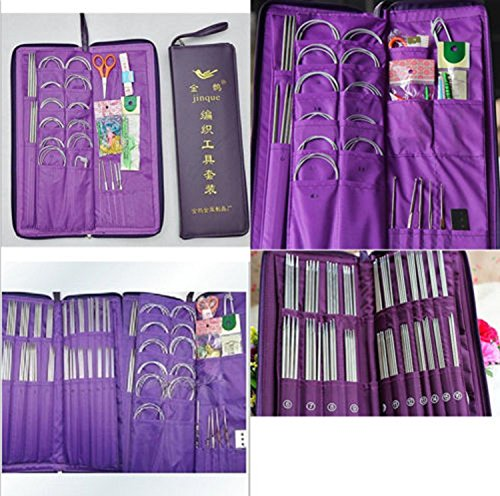 USA Premium Store 104 pcs Knit Set Stainless Steel Knitting Needles+Circular Needles+Crochet Hook by USA Premium Store