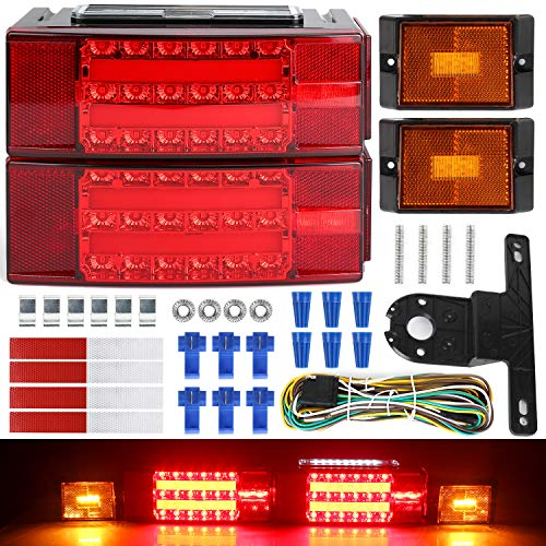 LINKITOM 2019 New Submersible LED Trailer Light Kit, Super Bright Brake Stop Turn Tail License Lights for Camper Truck RV Boat Snowmobile Under 80' Inch