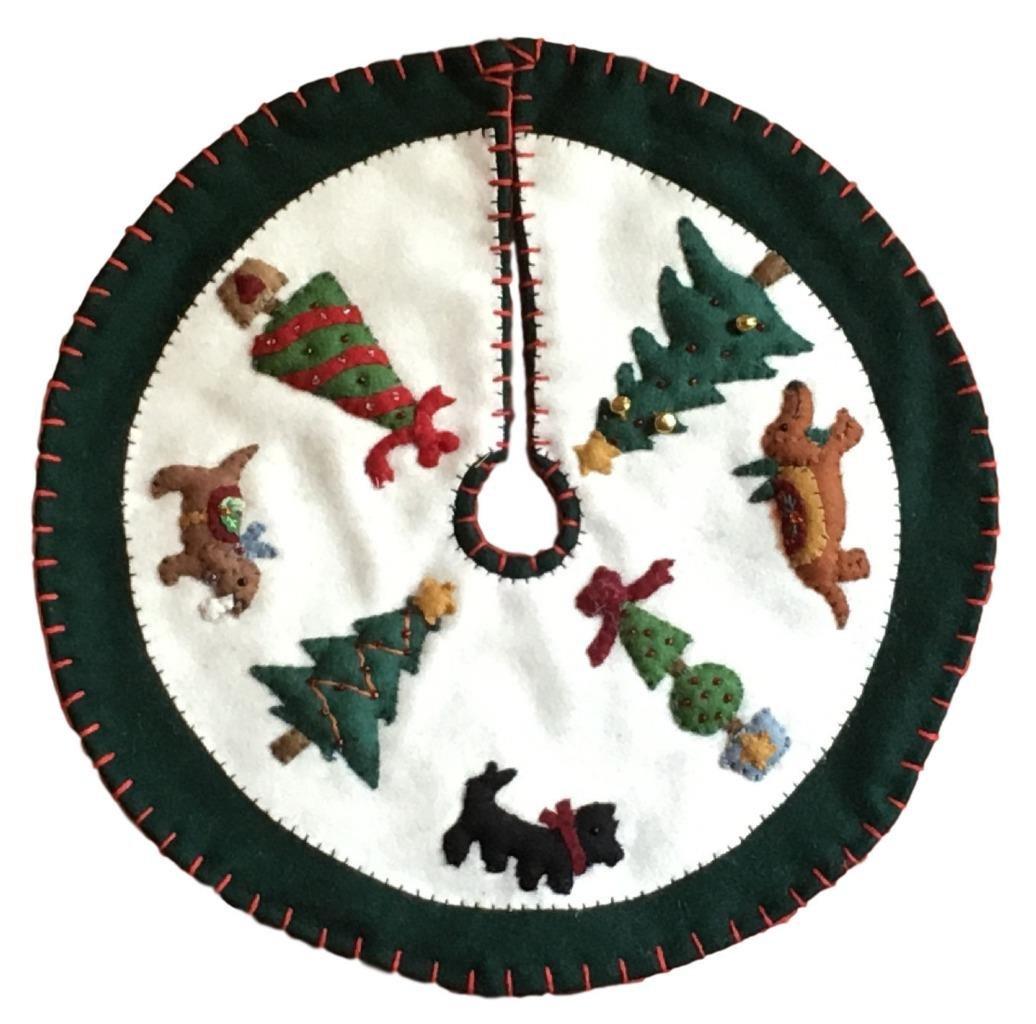 Handmade 11'' Felt Applique Dog Topiary Pet Christmas Tree Skirt Small Tabletop Size