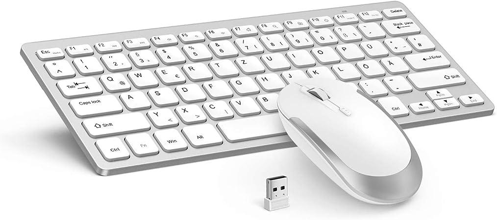 Jelly Comb [2.4G] Juego de teclado y mouse inalámbricos con diseño alemán QWERTZ para laptop y Smart TV - JP-019 [Blanco y plateado]