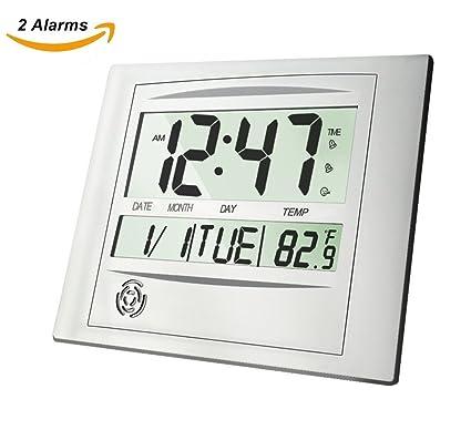 digital office clocks zone heqiao digital wall clocks 12 inch stylish brushed aluminum silent desk clock easy to read amazoncom