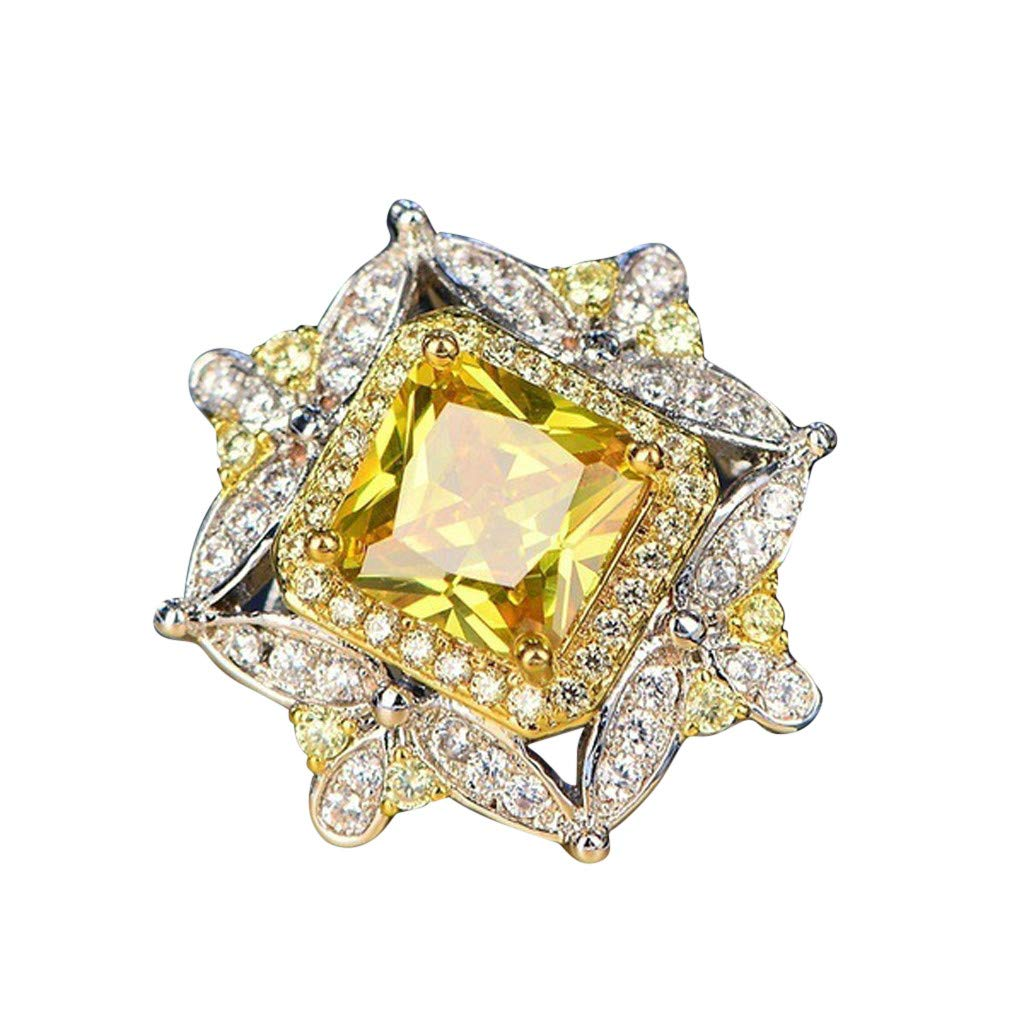 Yellow Diamond Rings for Women Engagement Ladies Dainty Square Diamond Ring Gift for Valentine's Day