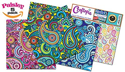 Craftopia's Paisley Pattern Self Adhesive Craft Vinyl Sheets | 4+1 Assorted Vinyl Pack for Cricut, Silhouette Cameo, Craft Cutters, Printers, Letters, Decals from Craftopia