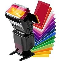 BEESCLOVER 12 Pcs Universal Flash Color Card Diffuser Lighting Gel Pop Up Filter for Camera Speedlite 12 Colors