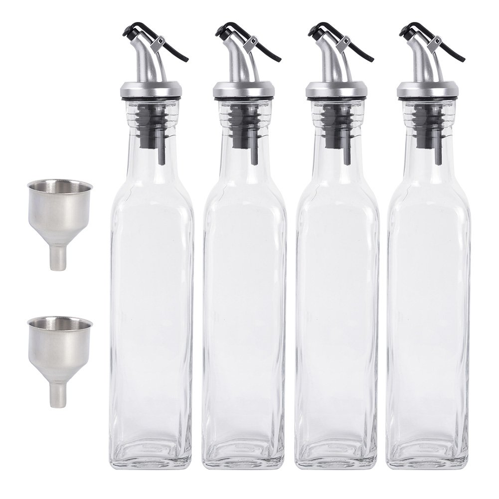Olive Oil Dispenser - 4 Pack Oil and Vinegar Sauce Wine Glass Bottle Olive Oil 250ml Glass Dispenser Pouring Spouts with Lever-Release Snap Lids for Controlled Pouring with 2 Funnel