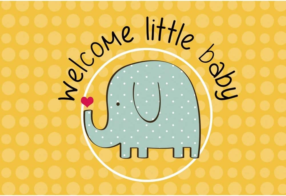 DORCEV 8x6ft Happy Birthday Backdrop Cute Elephant Boys Birthday Party Photography Background Blue Floral Cloud Gold Star Little Elephant 1st Birthday Party Banner Boys Child Photo Studio Props