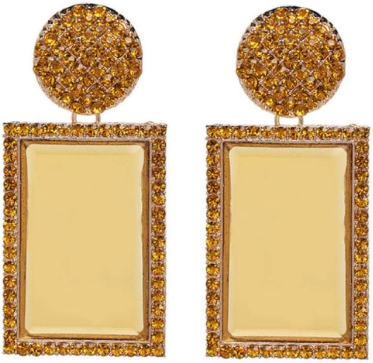honnhoy Pendientes Grandes de Cristal para Mujer Pendientes de Diamantes de imitación Transparentes para Mujer Fiesta de niña Regalo de Mujer