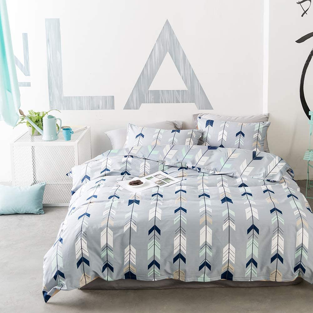 EnjoyBridal Bedding Set Geometric Teens Duvet Cover Set Full Cotton Grey Kids Comforter Cover Sets Queen with Zipper Triangle Cupid's Arrow Bedding Quilt Cover Set Queen for Boys Girls, No Comforter