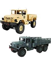 Baoblaze 1/16 Remote Control Truck WPL B-1 4WD RC Army Truck Radio Remote Control Car Electronic Toy - Army Green