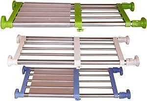 Hershii Closet Tension Shelf & Rod Expandable Metal Storage Rack Adjustable Organizer DIY Divider Separator for Cabinet Wardrobe Cupboard Kitchen Bathroom - 3 Colors