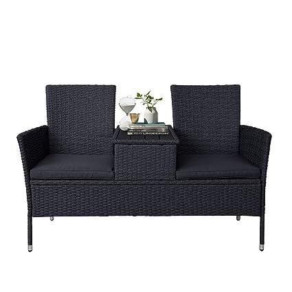 Phenomenal Amazon Com Simply Me Rattan Patio Furniture Loveseat Sofa Short Links Chair Design For Home Short Linksinfo