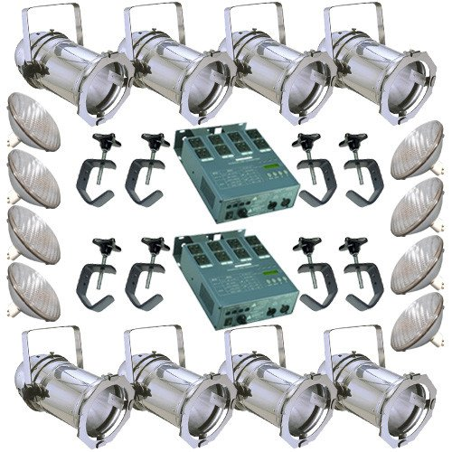 (8 Silver PAR CAN 64 500PAR64 NSP Bulbs C-Clamp 2 Dimmer )