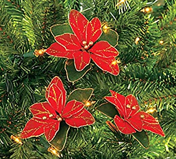 pack of 12 red glitter poinsettia christmas tree ornaments - Christmas Poinsettia