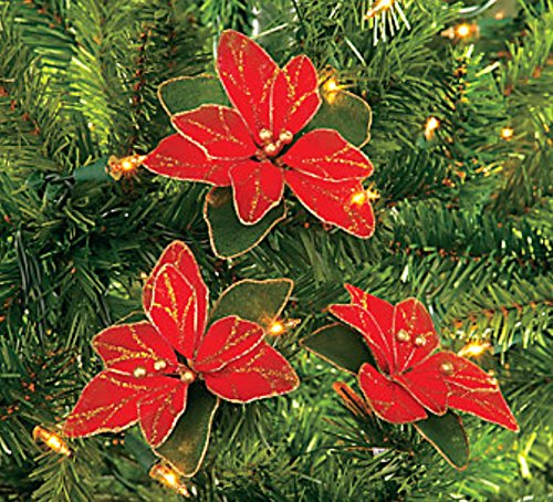 Pack Glitter Poinsettia Christmas Ornaments