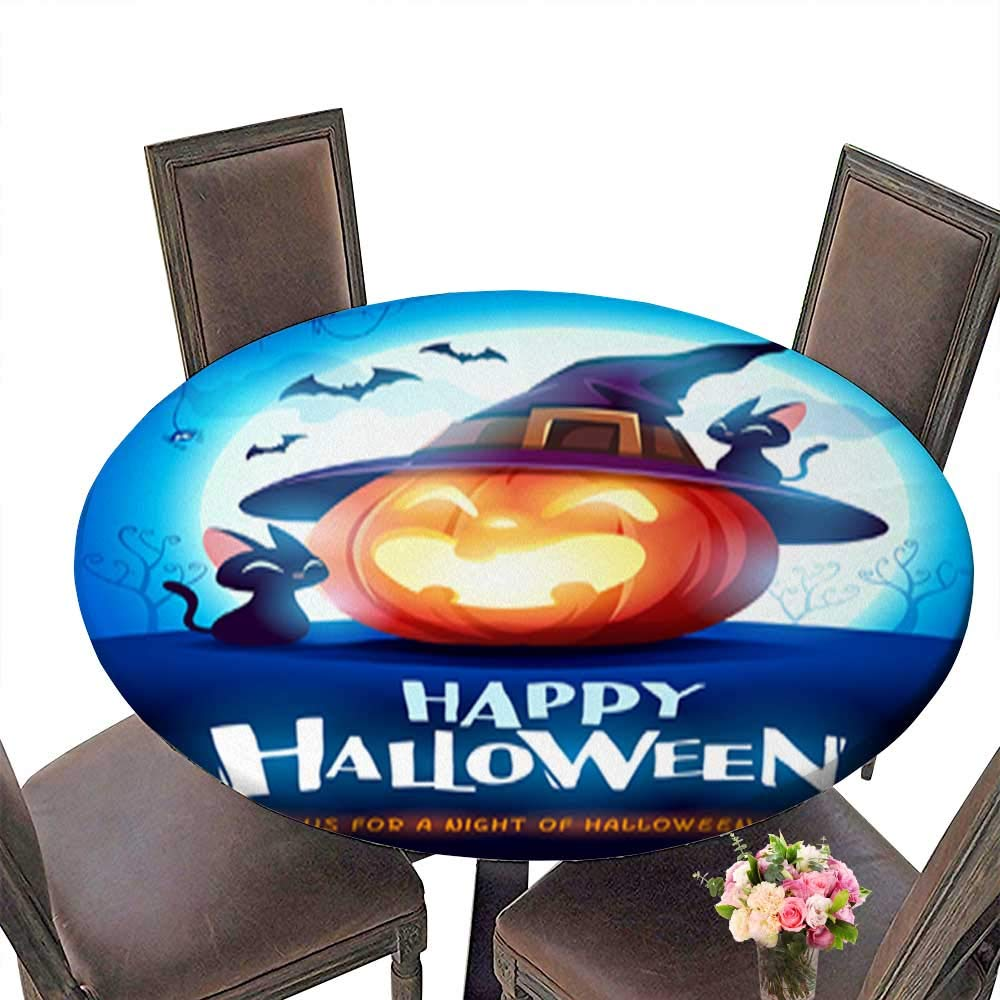 Polyesters Round Tablecloth,Happy Halloween Halloween Pumpkin Jack O Lantern Pumpkin with Witch hat in The Wedding Birthday Baby Shower Party up to 31.5''-33.5'' Diameter