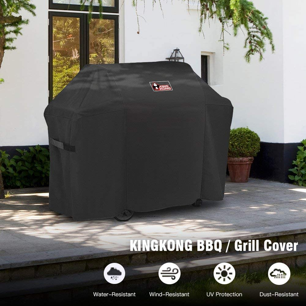Kingkong 7130 Grill Cover for Weber Genesis II 3 Burner Grill and Genesis 300 Series Grills (Compared to 7130) including Brush, Tongs and Thermometer : Garden & Outdoor