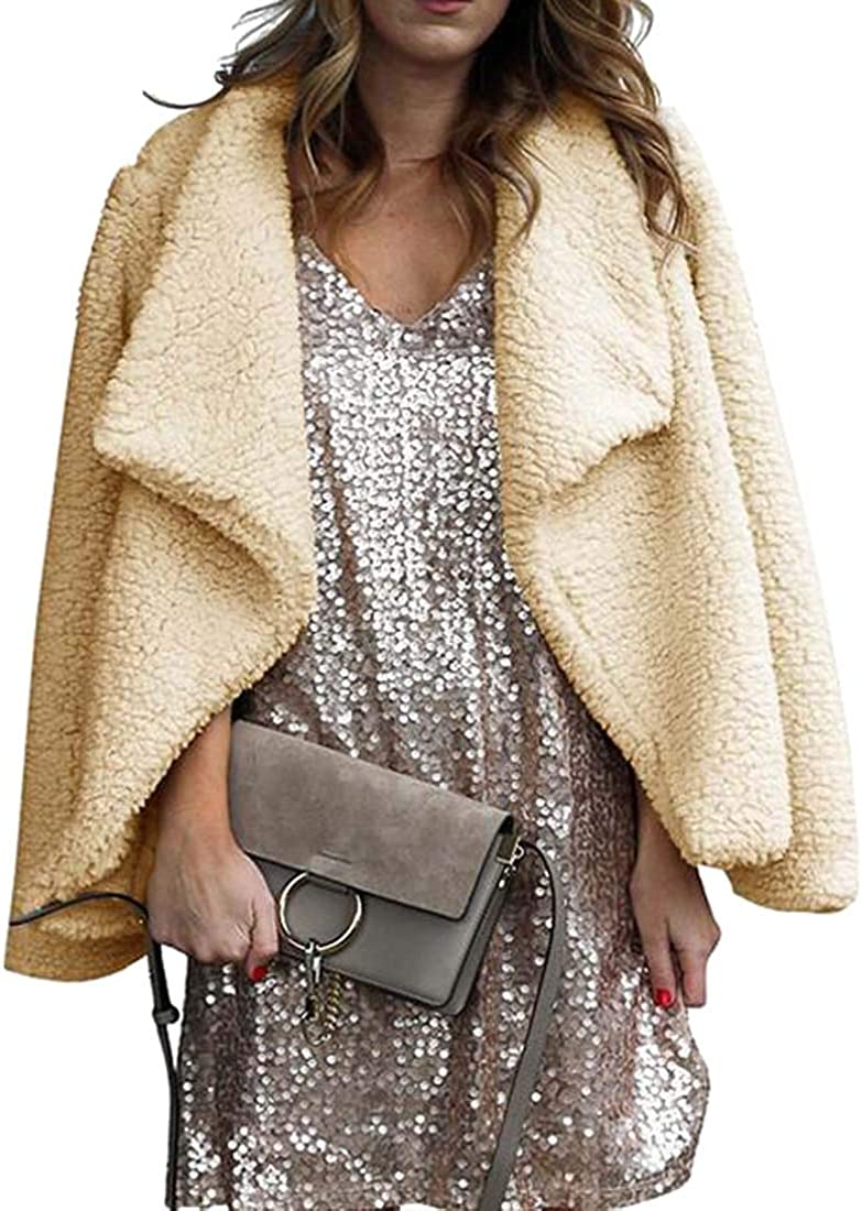 Fensajomon Womens Winter Fluffy Pure Color Lapel Open Front Cardigan Jacket Coat