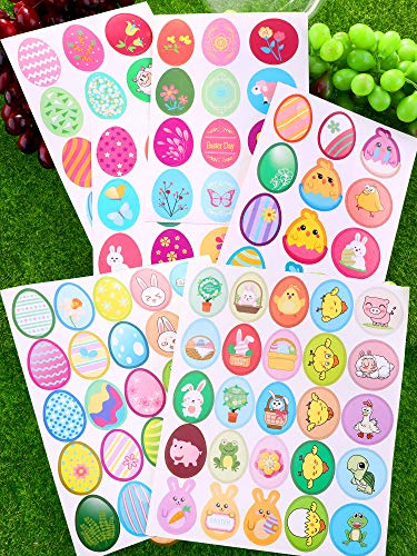 - Chuangdi 24 Sheets 392 Pieces Easter Stickers with Bunny Egg Patterns Stickers Labels for Easter Party Decoration Favors
