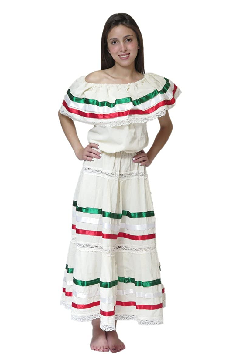 Señoras Mexicano Beige Fiesta Ribbon and Lace Poplin Dress - DeluxeAdultCostumes.com